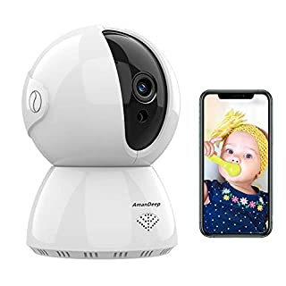 AMANDEEPWireless Security Camera, IP Camera 1080P HD, WiFi Home Indoor Camera for Baby/Pet/Nanny, Motion Detection, 2 Way Audio Night Vision, Works with Alexa, with TF Card Slot and Cloud