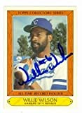 Willie Wilson autographed baseball card (Kansas City Royals) 1985 Topps Collectors Series #42 - Autographed Baseball Cards