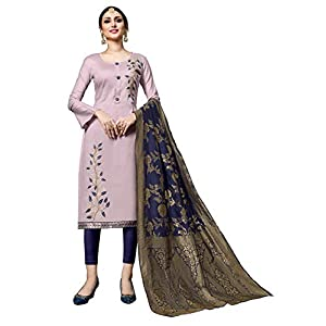 Blissta Traditional Gota Patti & Embroidery Work Unstitched Salwar Kameez For Women's With Banarasi Dupatta…