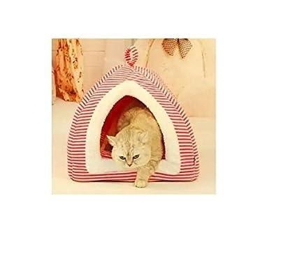 XCXpj Lovely Rosa Rayas Yurt Tienda de Campaña caseta Gato Nido Mascotas Nido Suministros para Mascotas