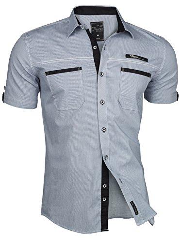 Trisens - Camisa de manga corta para hombre - A rayas - Estilo ...