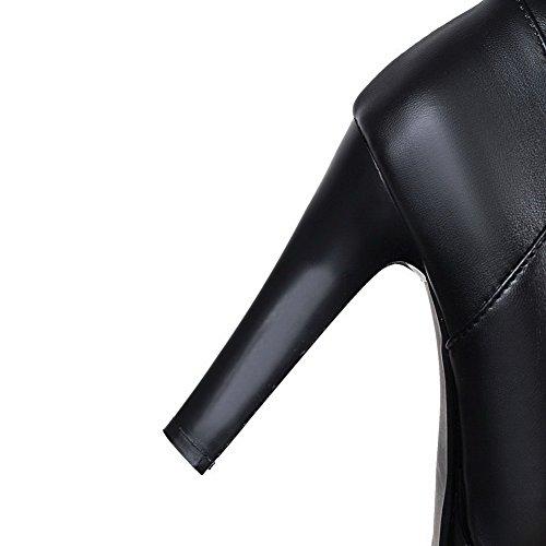 AllhqFashion Mujeres Puntera Redonda Caña Alta Tacón Alto Sólido Pu Botas con Hebilla Negro