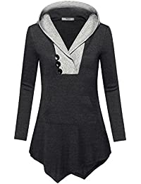 Womens Long Sleeve V Neck Asymmetric Tunic Hoodie With...