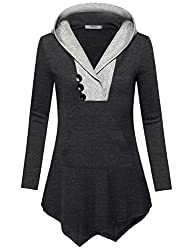 Miusey Black Hooded Sweatshirt Women Girls Warm Soft Comfy Tunic Tops Regular House Wear Baggy Casual V Neck Sweater Knitted Oversized Patchwork Shirt Carbon Black Xxl