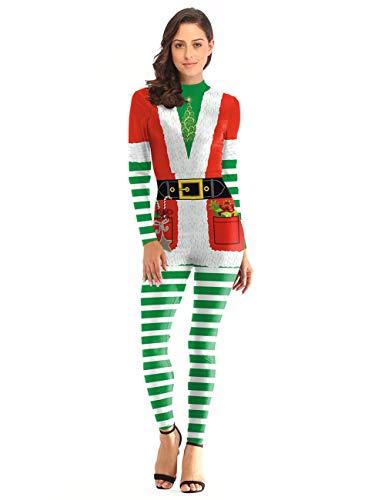 GRACIN Womens Christmas Elf Jumpsuit Santas Costume, 3D Printed Festive Cosplay Catsuit Green (Small, Xmas) ()