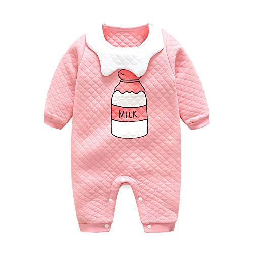 Baby Knit Romper Unisex Baby Clothes Peter pan Collar Baby Costume Baby Fall Outfits -Pink-59cm(1-3 Month)
