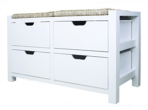 Heather Ann Creations W22302-WHT Storage Bench, White/Natural (Natural Wooden Storage All Bench)