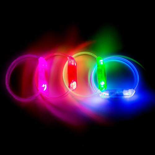 PROLOSO LED Light Up Bracelets Glow Wristbands Assorted Colors Set of 4 for Concerts, Festivals, Sports, Parties, Night -