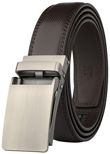 Leather Comfort Slides - Belt for Men, Genuine Leather Ratchet Dress Comfort Belt with Slide Click Buckle, Trim to Fit (28