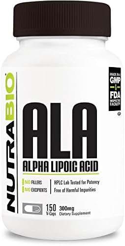 NutraBio Alpha Lipoic Acid (ALA) 300 mg - 150 Vegetable Capsules