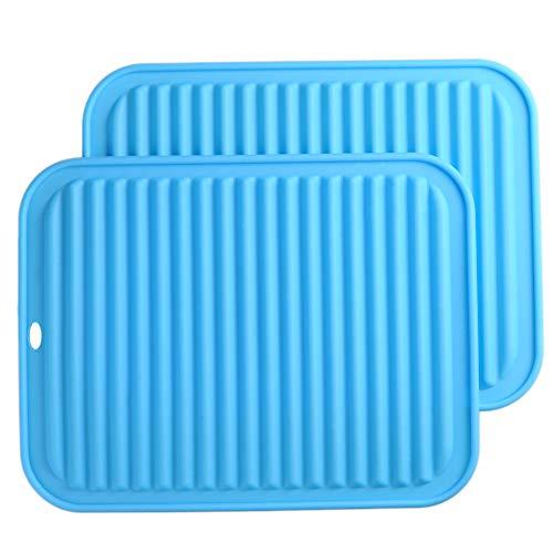 Big Silicone Trivets mat set of 2 Smithcraft 9X12 Multi-purpose Drying Trivet Mat, Pot Holder, Waterproof, Non Slip, Flexible, Durable, Dishwasher Safe Blue