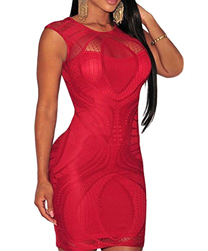 Lace Bodycon Keisha Red Dress less Nude Illusion made2envy Sleeve wqaRxOTw