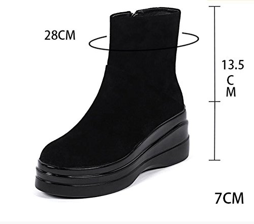 aumentato stivali nero spesso breve Khskx scarpe 37 cerniera 7cm e unico Canon tondo laterale donna nudo Martin CqqfYwP