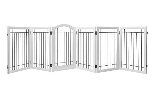 PAWLAND 144-inch Extra Wide 36-inch Tall Dog gate with Door Walk Through, Freestanding Wire Pet Gate, Dog Gate for The House, Doorway, Stairs, Pet Puppy Safety Fence, White (36 Freestanding Pet Gate)