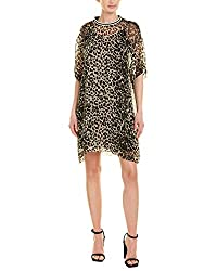 Anna Sui Womens Leopard Silk Shift Dress L Brown