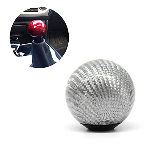 (Tasan Racing Universal Round Ball Type Gear Shift Knob with 3 Adapters Gear Shifter Level Carbon Fiber Style Silver)