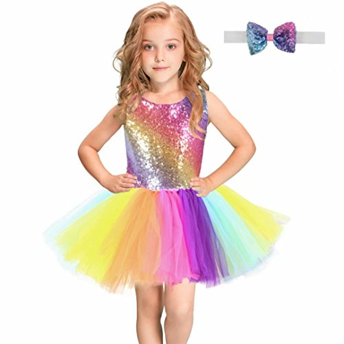 - Baby Girls Sequin Rainbow Dress Sleeveless Tutu Tulle Birthday Party Dresses with Headband/Bow Tie