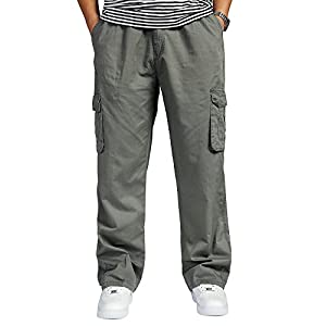 OCHENTA Men's Loose Fit Full Elastic Zipper Fly Multi Pockets Cargo Pants