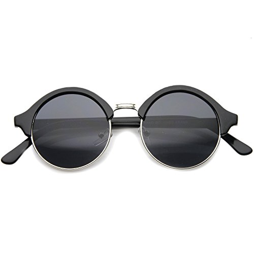 zeroUV - Vintage Inspired Classic Half Frame Semi-Rimless Round Circle Sunglasses (Black-Silver / - And Black Clubmasters Silver