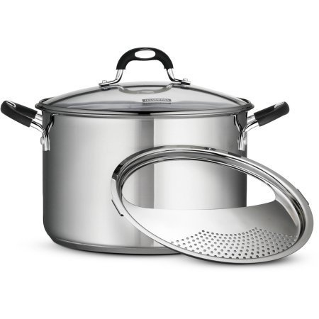 Tramontina 8-Quart Gourmet Stainless-Steel Covered Stock Pot with Lock and Drain