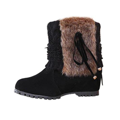 Sikye Dames Winter Laarzen Vlinder-knoop Korte Pluche Outdoor Schoenen Warme Enkel Snowboots Plat Zwart