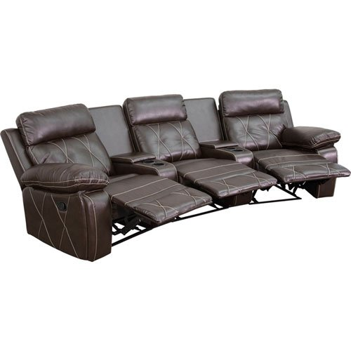 Parkside Home Comfort 3-Seat Reclining Brown Leather Theater Seating Unit with Curved Cup Holders