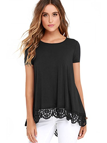 Leggings Lace Cotton - RAGEMALL Women's Tops Short Sleeve Lace Trim O-Neck A-Line Tunic Blouse Tops for Women Black XXL