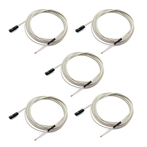 Tegg 5PCS NTC 3950 100K Thermistors Temp Sensor with 1M Wiring and 2Pin Connector for RepRap 3D Printer Heatbed Hot End Mendel Prusa - Wire Thermistor