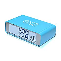 Smileto Portable Small Digital Desk Alarm Clock With Flip On/Off, Sensor Backlight And Repeating Snooze Function, 12h/24h Display, Easy Setting (Blue)