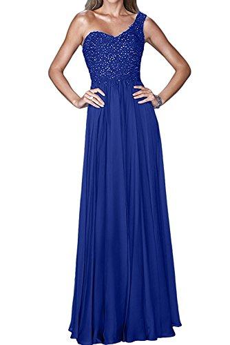 La_Marie Braut Damen Ein-traeger Pailletten Chiffon Abendkleider Partykleider Brautmutterkleider Lang A-linie Royal Blau o8z5o9vw