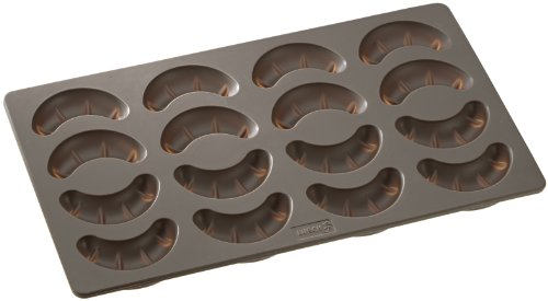 Lurch Germany Flexiform 6.6 x 11.8 Inch Silicone Croissant Mold, Brown