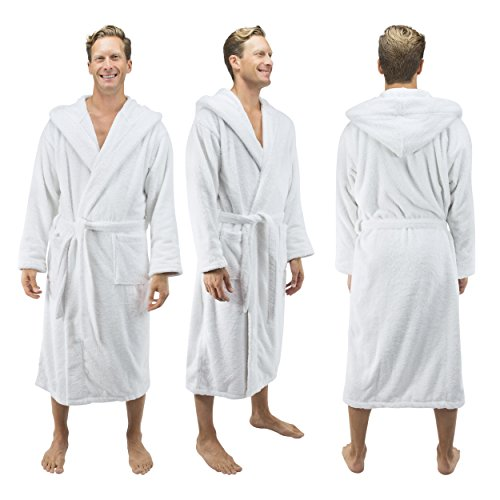 Comfy Robes Personalized Men's Deluxe 20 Oz. Turkish Cotton Hooded Bathrobe, XXL White by Comfy Robes (Image #3)