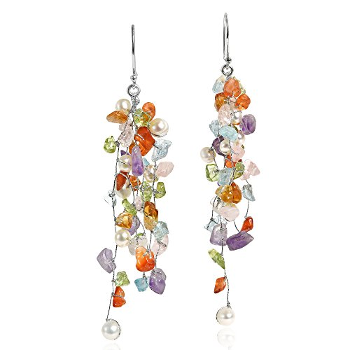 (Classy Cluster Multi-Colored & Cultured Freshwater Pearl Long Dangle Earrings)