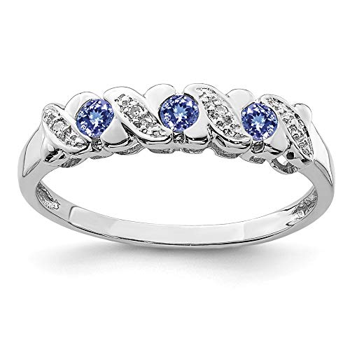 925 Sterling Silver Blue Tanzanite Diamond Band Ring Size 8.00 Stone Gemstone Fine Jewelry Gifts For Women For Her