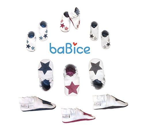 HOBEA-Germany Leder Krabbelschuhe Babyschuhe Sterne in verschiedenen Farben von baBice, Schuhgröße:22/23 (18-24 Monate);baBice Schuhe:Sterne pink Sterne grau