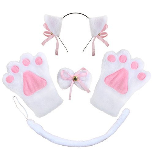 Costume Cat Cosplay Set - 4Pcs Kitten Tail Ears Collar Paws Gloves Lolita Gothic Set (White)
