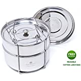 Ecozoi Premium Food Steamer Pot In Pot Insert Pans for 6, 8 Quart Instant Pot Accessories & Pressure Cookers - 2 Tier | Stackable PIP | Extra Deep | Interchangeble Lids + BONUS Reusable Lunch Bag