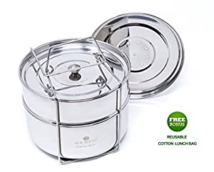 Ecozoi Premium EXTRA DEEP Stackable Steamer Insert Pans Pot In Pot for Instant Pot 6, 8 Quart Instant Pot Accessories - 2 Tier | Interchangeble Lids + BONUS Reusable Lunch Bag
