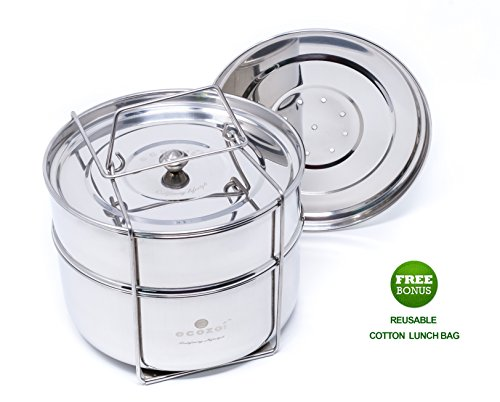 Ecozoi Premium Food Steamer Pot In Pot Insert Pans for 6, 8 Quart Instant Pot Accessories & Pressure Cookers – 2 Tier | Stackable PIP | Extra Deep | Interchangeble Lids + BONUS Reusable Lunch Bag