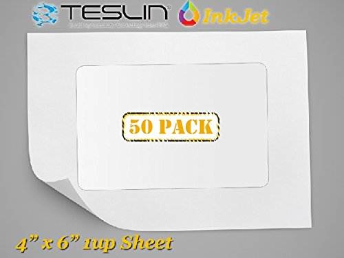 Teslin Synthetic Paper- for Inkjet Printers - Microperforated 1-up - 10 mil | 50 Pack