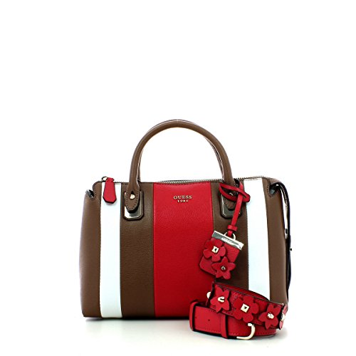 Guess handbag liya satchel mocha multi: Amazon.it: Abbigliamento