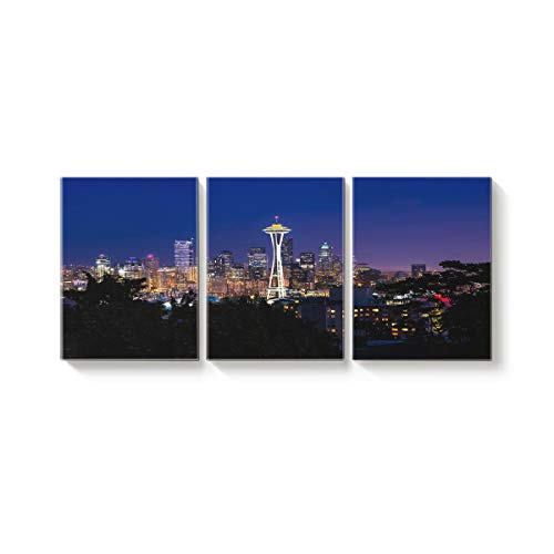 (3 Panel Modern Canvas Wall Art Home Decor Seattle City Night View and Space Needle Oil Painting Giclee Artwork for Wall Decor)