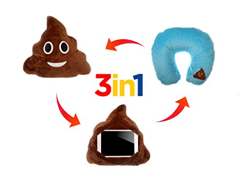 Retro Emoji Smiley Emoticon Round Cushion Pillow Stuffed Cute Plush Soft Toy Doll Money Mouth Cat Pink Poop Angel Heart Eye Kissy Face Tongue Laugh to Tear Car Home Office (IU POOP)]()
