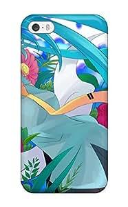 Awesome Headphones Vocaloid Flowers Hatsune Miku Tie Mizuki Twintails Flip Case With Fashion Design For Iphone 5/5s