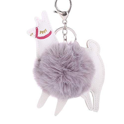 Slendima Lovely Alpaca Faux Fur Ball Keyring Car Key Chain Women's Bag Hanging Decor Light Gray (Round Tags Leather Bag)