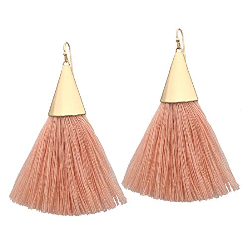 Mega Shop Vintage Ethnic Long Tassel Dangle Fringe Stud Earrings Geometric Alloy Plating Pendant (Pink 01) -