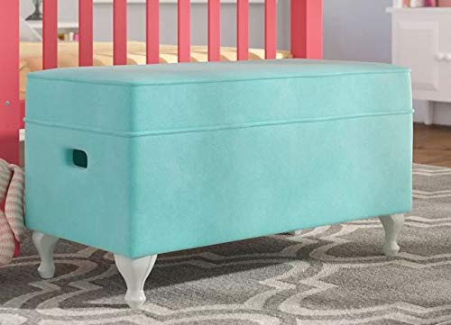 HomeK- End of Bed Storage Bench-Bedroom Benches at Foot of Bed- Aqua Velvet Upholstered Queen Anne Style Legs - Stylish Solution for Your Storage Needs