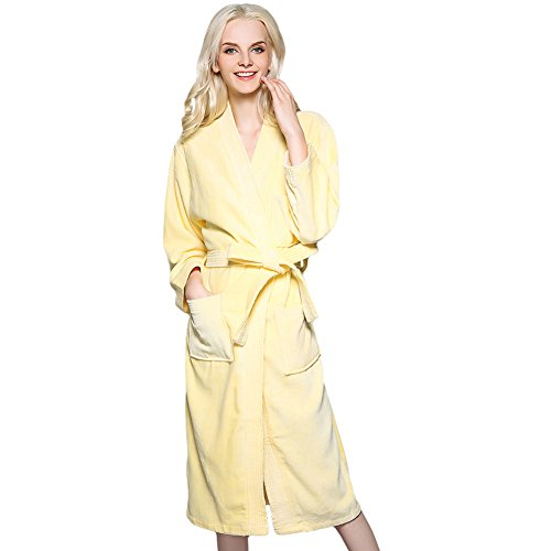 FREE FISHER Womens Cotton Terry Cloth Bathrobe Yellow XL(For Weight 192-220 LB)