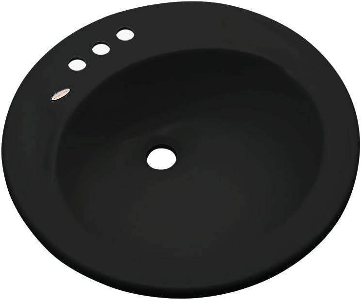 Dekor Sinks 80899 Woodcrest Cast Acrylic Self Rimming 3 Hole Bathroom Sink Black