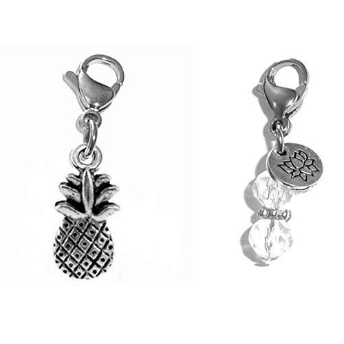 Hidden Hollow Beads Clip On Charm, Bag, Purse, Handbag, Message, Keychain, Zipper Pull, Bracelets, Necklaces, Jewelry (Pineapple)